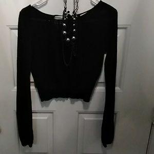 Xhilaration Crop Black Knit Sweater Size M